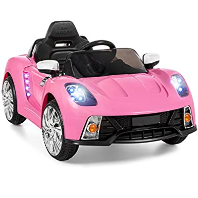 Best Choice Products 12V Kids Battery Powered Remote Control Electric RC Ride On Car w/ LED Lights, MP3, AUX - Pink: Toys & Games