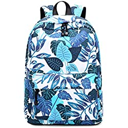 """Teecho Girls Waterproof School Backpack Fashion 15.6"""" Laptop Backpack for Teenager (Leaves)"""