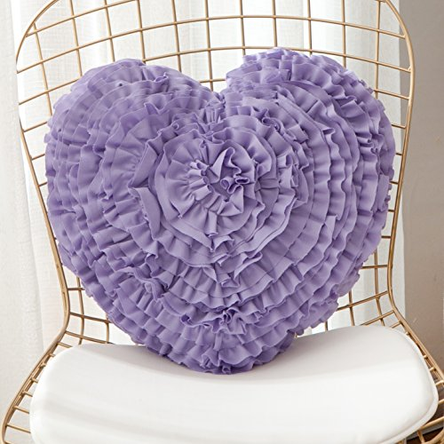 Cassiel Home Handcrafted 3D Love Heart Shaped Throw Pillows Fluffy Decorative Ruffled Pillows Cushions Gifts for Wedding Anniversary Girls Women Best Friends Couch (17