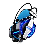 Kotion Each G7000 Cyber Cafe 7.1 channel USB Over Ear Gaming Headphones for PC & PS4 with Vibration Fixed Mic (Black/Blue)