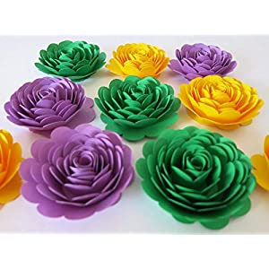 "Mardi Gras Party Decorations, Set of 10 Paper Flowers, Big 3"" Roses, Loose Floral Decor, Purple, Green, Yellow Color New Orleans Theme Event 98"