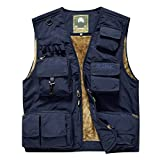 Mens Outdoor Multi-pocket Warm Jacket Pierced Fishing Vest Photo Journalist's Vest
