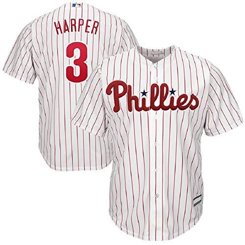 - Men's Philadelphia Phillies #3 Bryce Harper White/Scarlet Home Cool Base Player Jersey