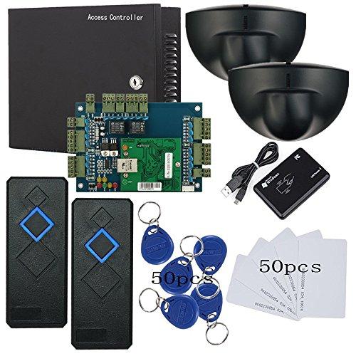 - Network 2 Doors RFID Reader Access Control System Kit PIR Motion Sensor Exit+110V Power Box+RFID Reader+RFID Keyfobs/Cards