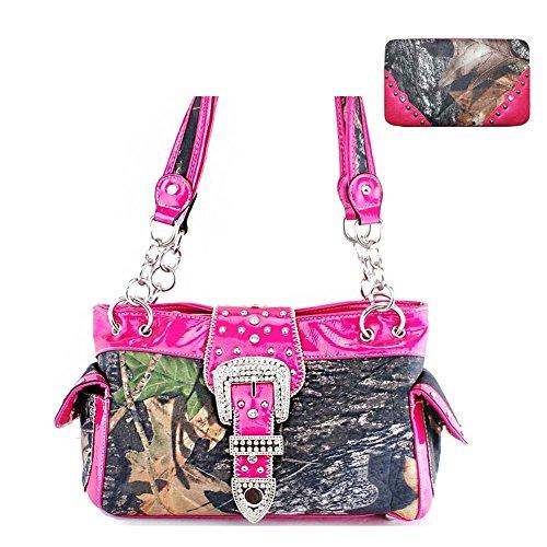 New Style Rhinestone Buckle Concho Camouflage Shoulder Handbag Purse with Matching Wallet (New Western Rhinestone Concho)