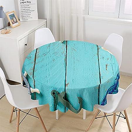 Chickwin Mantel Redondo para Mesa Impermeable y Antimanchas Mantel de Poliéster para Jardin, Comedor, Cocina Decoración, Mantel con diseño de Vetas de Madera (Tablero de Marinero,150cm)