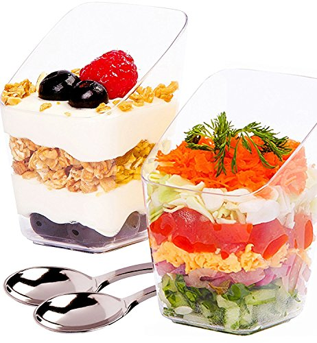 Mini Dessert Cups with Spoons - 3 Ounce, 40 Count - Premium Clear Plastic | Disposable Appetizer Bowls | Perfect for Weddings & Parties (40) (3 Fruit Dessert Bowls)