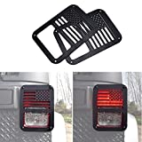 ICARS USA Flag Tail Lamp Tail light Cover Trim Guards Protector for Rear Taillights 2007-2017 Jeep Wrangler JK Unlimited Accessories