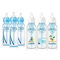 Dr. Browns Baby Bottles Boys 6 Pack - 3 (8 oz) Blue and 3 (8 oz) Clear Bottle...