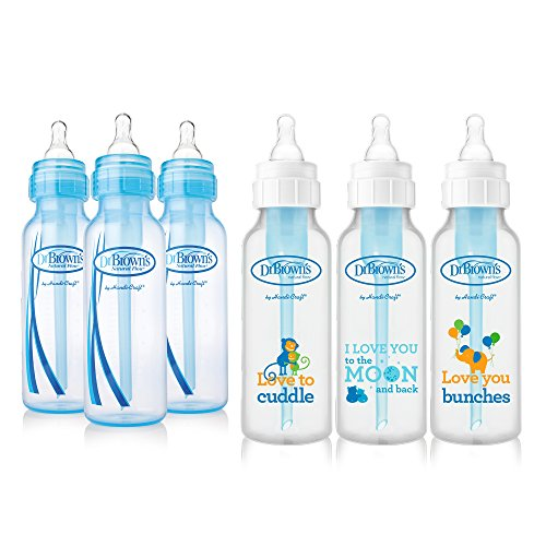 Dr. Browns Baby Bottles Boys 6 Pack - 3 (8 oz) Blue and 3 (8 oz) Clear Bottles with New Prints