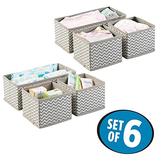 mDesign Chevron Fabric Baby Nursery Closet Organizer for Clothing, Diapers, Wipes, Lotion, Medicine - Set of 6, Taupe/Natural (Linen Closet Baskets)