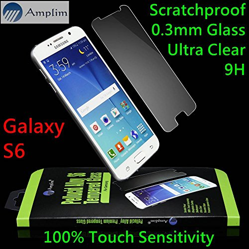 Galaxy S6 Screen Protector: Amplim Front Ballistic Tempered Glass Cover. Case Friendly, 9H Clear HD, Full 2.5D Rounded Edge, Halo Bubble Free, Scratch Proof Anti Fingerprint (Samsung-Premium-Film-S)
