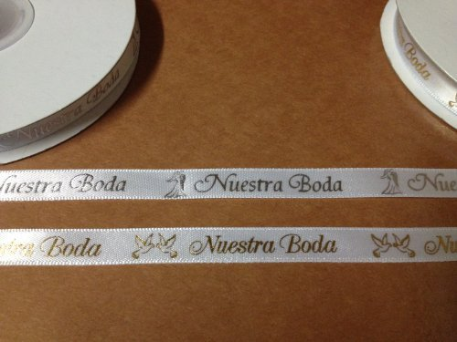 3/8' X 25 Yards Nuestra Boda Continuous Printed Ribbon for Wedding Favors