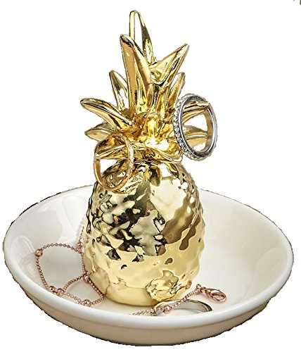 24 Warm Welcome Ceramic Pineapple Themed Ring and Jewelry Holders by Fashioncraft