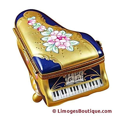 GRAND PIANO ROSES BLUE/GOLD - LIMOGES BOX AUTHENTIC PORCELAIN FIGURINE FROM -