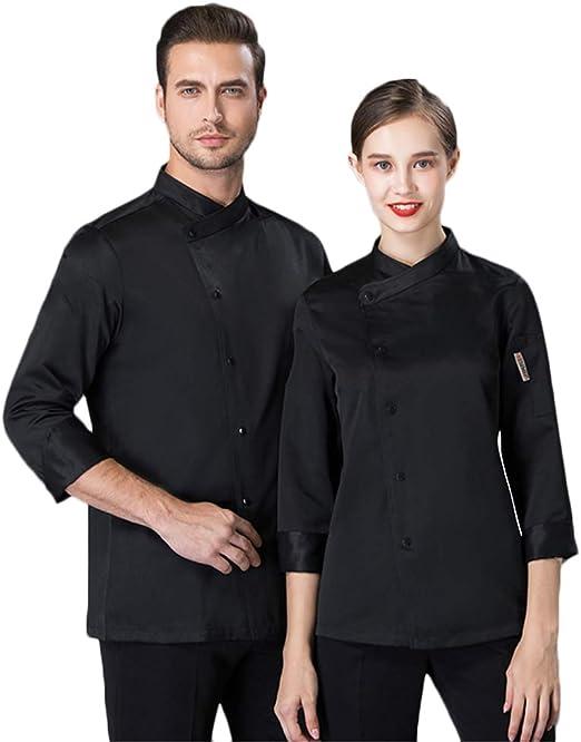 WYCDA Cocina Uniforme Camisa de Cocinero Manga Larga Colores Múltiples Camisa de Manga Larga del Chef Color Sólido Antiincrustante,Negro,M: Amazon.es: Hogar