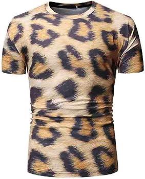 Camisa De Manga Corta con Estampado De Leopardo De Verano, para Hombre, Top Blusa: Amazon.es: Ropa y accesorios