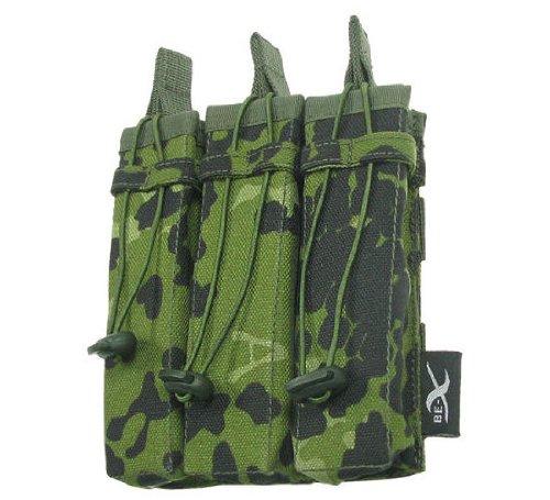 BE-X Offene Magazintasche für CQB, für MOLLE, für drei MP5 Magazine - dänisch tarn