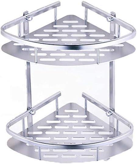 2 x CLEAR PLASTIC BATHROOM SHOWER CORNER SHELF CADDY BASKET RACK SUCTION CUP FIX