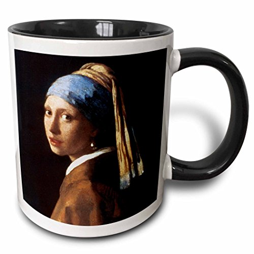 3dRose BLN Portrait Gallery by the Masters Fine Art Collection - Girl With a Pearl Earring by Jan Vermeer - 15oz Two-Tone Black Mug (mug_128108_9)