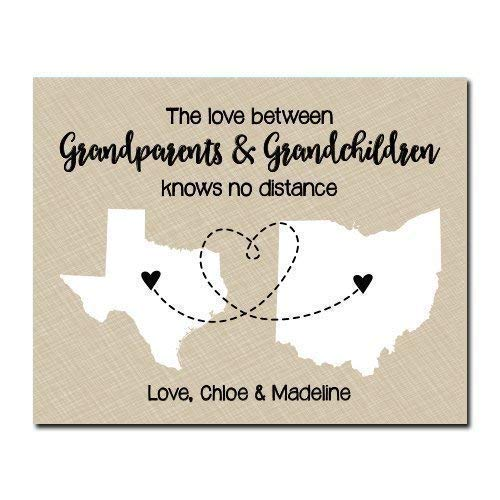 Two State Paper Art Print | Color Options Available | Personalized Grandparent Sign | Long Distance Grandparent Gift | Grandparent Map | Gifts for Grandparents | Grandma Gift | Grandpa Gift (Gifts Grandparent Personalized)