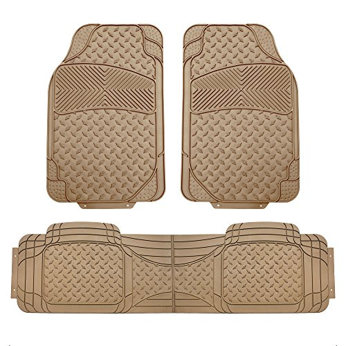 FH Group FH-F11307 Semi Custom Trimmable Heavy Duty Rubber Floor Mats Front & Rear - 3pc Set Tan ()