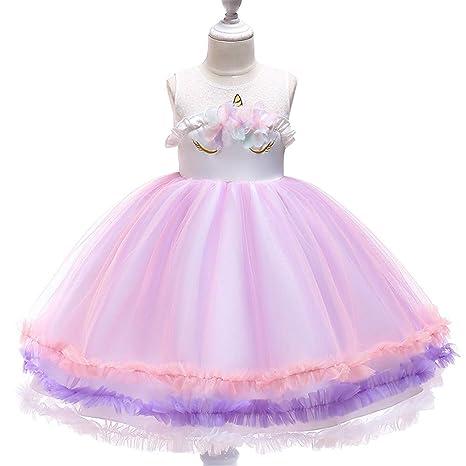 Qz Vestido De Las Niñas Vestido De Unicornio Traje De Pascua