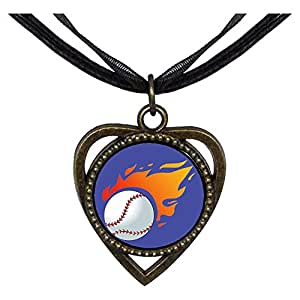 Chicforest Bronze Retro Style Olympics tennis ball flying Heart Shaped Pendant