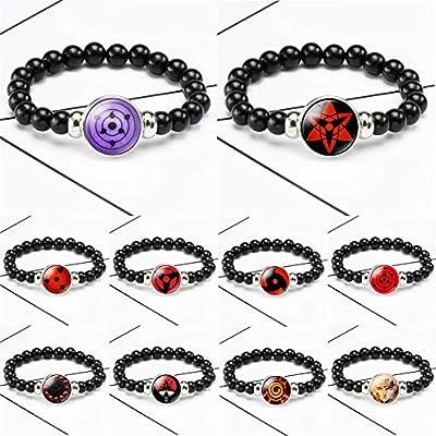 WerNerk Naruto Anime Bracelet Braided Rope Beads Bracelet Bangle Sharingan Eye Cosplay Cartoon Japanese Anime Figure Bracelet Friends Gifts(Style 06): Jewelry