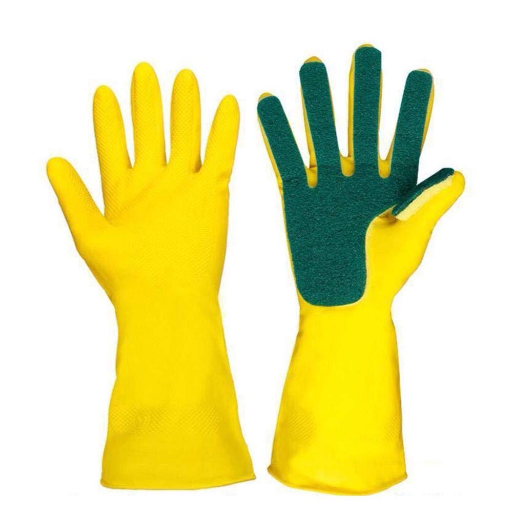 Latex Sponge Scrub Guantes para lavar platos Lavado de platos Limpieza Herramienta de limpieza - Matefielduk
