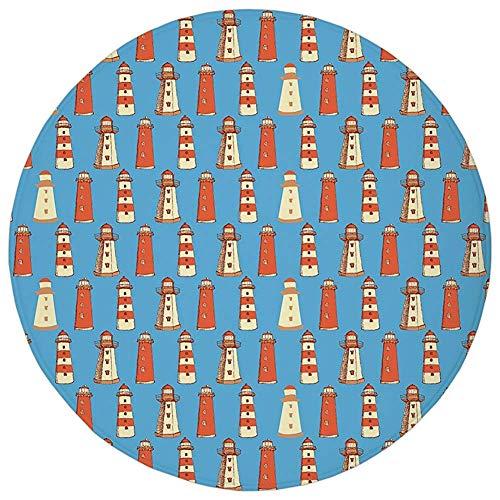 (Round Rug Mat Carpet,Lighthouse,Retro Sketch Style Cute Architecture Elements Marine Ornament Vintage Decorative,Vermilion Blue Cream,Flannel Microfiber Non-slip Soft Absorbent,for Kitchen Floor Bathr)