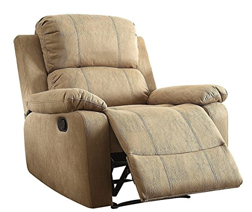 Major-Q Furniture Bina Recliner Memory Foam Pillow Top Arm Chair, Brown (3059526) by Major-Q