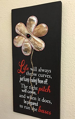 com life will always throw curves baseball sign decor