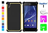 Sony Xperia Z2 Case,Xperia Z2 Case,SupMax™ *New Style* *Silicone+PC* [Full-Body Protection] [Scratchproof] [Shock proof] [Drop proof] Impact Resistant Hard Shell Case Cover Dual Layer With Upscale Silicone Shock Absorbent [Gifts(SupMax brand)Dust plug+Screen wipes+Phone Chain ] for sony xperia z2 -Multi colors (Yellow)