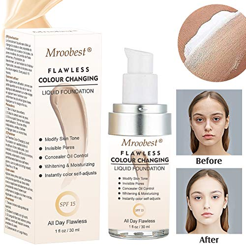 Flawless Finish Foundation,Colour Changing Liquid Foundation, Liquid Foundation Cream,Moisturizing Liquid Cover Concealer for All Skin Types, SPF 15,1 Fl Oz