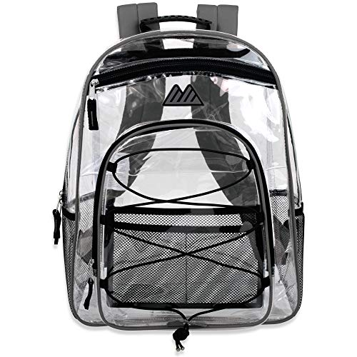 See Through Clear Backpack Heavy Duty - Transparent Bag, Athletic with Reinforced Straps (Green)