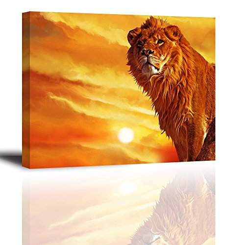 Baiduart Lion Canvas Wall Art, HD Sunset Canvas Prints Painting (Waterproof, Hook Mounted, 1