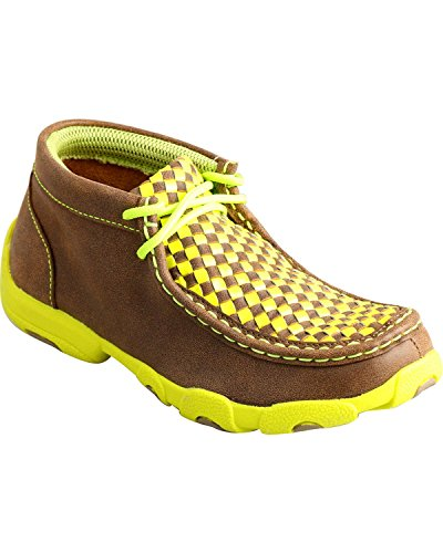 Twisted X Boys' Yellow Checkerboard Driving Mocs Bomber 2.5 D(M) US (Yellow Checkerboard)