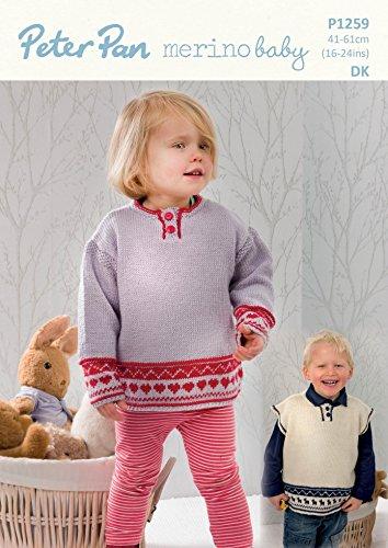 Peter Pan Childrens Sweater & Slipover Merino Baby Knitting Pattern 1259 DK