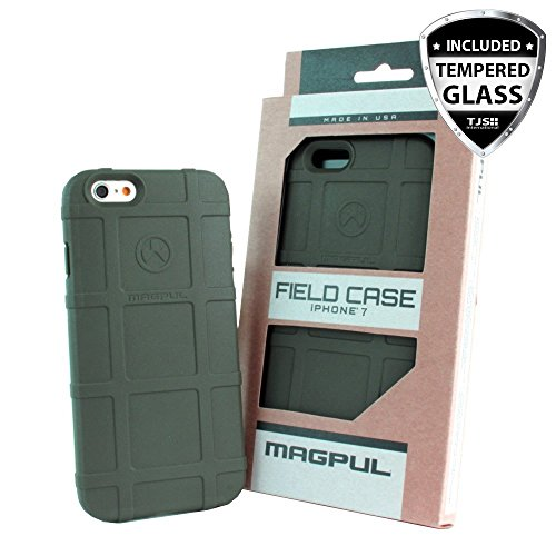 iPhone 7 Case, iPhone 8 Case, with TJS [Tempered Glass Screen Protector], Magpul [Field] MAG845 Polymer Case Cover Retail Packaging for Apple iPhone 7/iPhone 8 4.7 inch (Olive Drab Green)