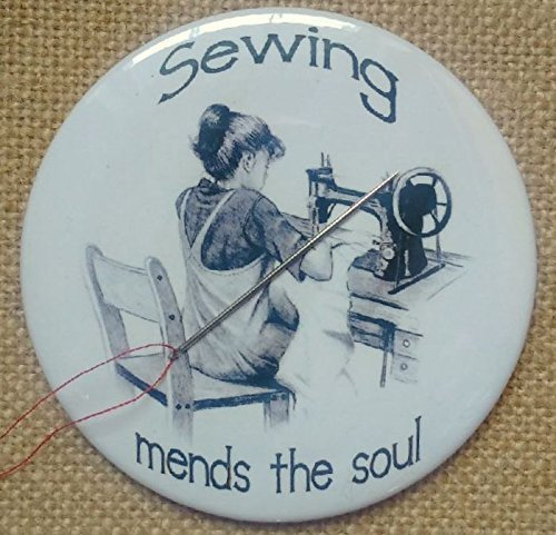 "Magnetic Needle Minder or Fridge Magnet, 3.5"", Sewing Mends The Soul, Girl Sewing on Old Machine, Pencil Art, Needle Nanny from Joyce's Art Magnets"