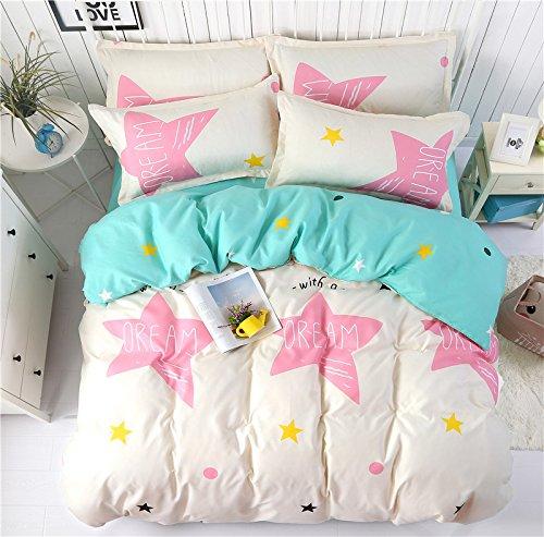 "Bedding Set Duvet Cover Flat Sheet Pillowcase No Comforter 4pcs/set BC Twin Full Queen Flamingo Green Leaves Dream Star Smile Design for Children Kids (Dream Star, Pink, Queen 78""x90"")"