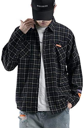 [Ningmengfeng]シャツメンズ 長袖 チェックシャツ ボタンダウン 綿 折襟 カジュアル 紺色