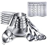 Measuring Cups, U-Taste Measuring Cups and Spoons Set of 15 in 18/8 Stainless Steel : 7 Measuring Cups and 7 Measuring Spoons with 2 D-Rings and 1 Professional Magnetic Measurement Conversion Chart