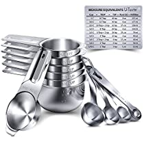 Measuring Cups, U-Taste Measuring Cups and Spoons Set of 15 in 18/8 Stainless Steel : 7Measuring Cups and 7 Measuring Spoons with 2 D-Rings and 1 Professional Magnetic Measurement Conversion Chart