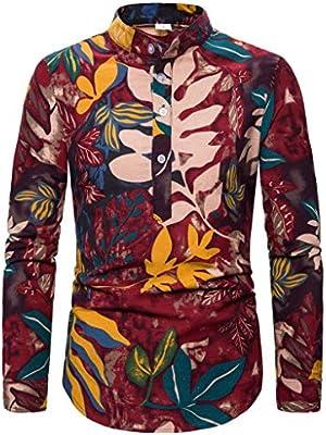 jfhrfged - Camisa Hawaiana de Hombre étnica de Manga Larga con impresión Casual de algodón, marrón, M: Amazon.es: Deportes y aire libre