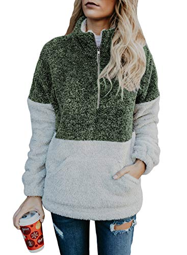 Ouregrace Womens Zip Neck Oversized Color Block Fleece Sweatshirt Pullover Top Outwear (S-XXL) (Green, L(US 12-14))