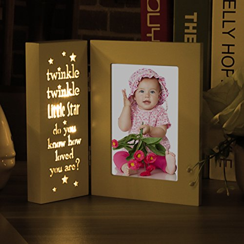 OUCHAN Baby Picture Frames 4x6 Light Up with Carved Wording-Twinkle Twinkle Little Star Cream white Little Frame