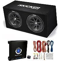 Kicker DC122 Dual 12 600W Loaded Car Subwoofers +Box + 1500W Mono Amp + Amp Kit