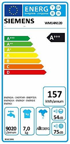Siemens WM14N120 iQ300 Waschmaschine FL / A+++ / 157 kWh/Jahr / 1390 UpM / 7 kg / Outdoor / Imprägnier-Programm / weiß